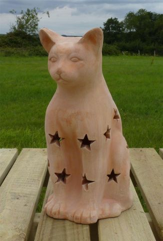 Terracotta Cat / Witches Cat Halloween Lantern. 30cm tall