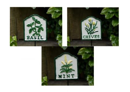 Set of 3 Herb Markers BASIL, CHIVES & MINT