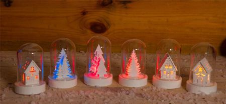 Winter Scene Glass Dome x 2 with Colour Changing LED.  Tree & House
