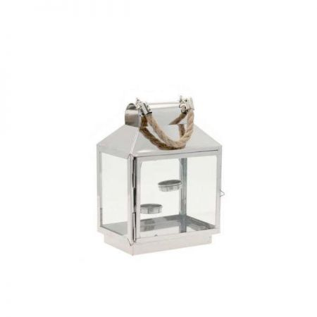 Contemporary Stainless Steel Lantern with Rope Handle
