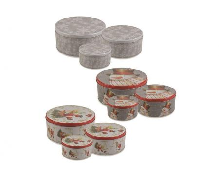 Set of 3 Christmas Cake Biscuit Tins. Traditional Snowman Design