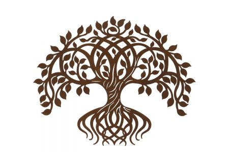 Twisted Tree of Life Plaque for Garden with Rusty Finish 60x53cm