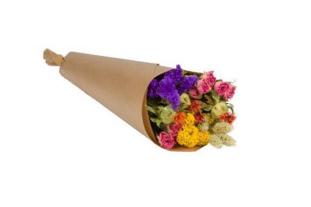 Dried Flower Bouquet with Mixed Colour Flowers