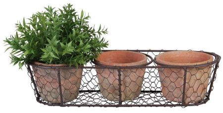 Aged Terracotta Pots in a Wire Basket - Great for Windowsill