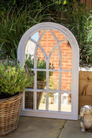 Toscana Garden Mirror with Vintage white painted finish. 50 x 76cm