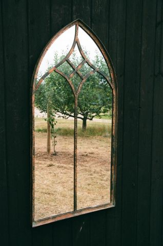 Metal & Glass Garden Mirror in Arts and Crafts Style h100 x w49cm Hamilton