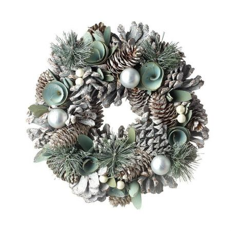 Duck Egg Blue Wreath with Silver Balls