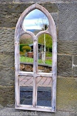 Garden or indoors wooden mirror in a Gothic style.  St Peters. Limed, aged 99945