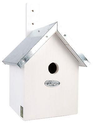 Wooden Blue Tit Nesting Box with a Zinc Roof and Painted White.  100% FSC