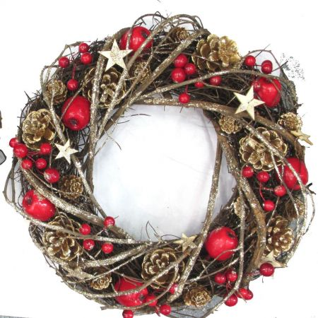 Twiggy wreath with red Apples & Gold Stars.  33cm Diameter