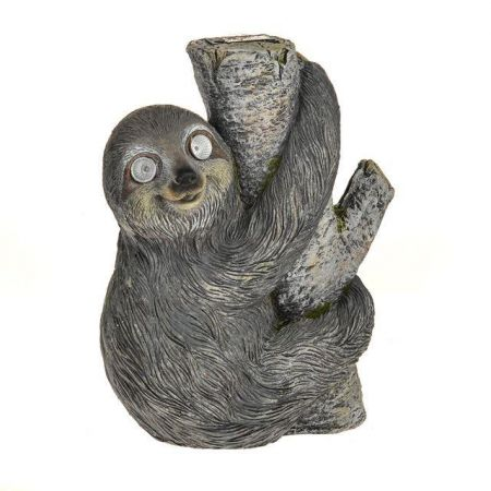 Eric the Sloth Tree Hugging Statue Ornament with Solar Eyes