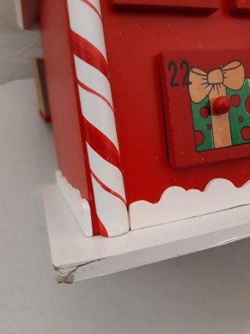 Large Wooden advent calendar.  Hand made.  Candy cane house *SECONDS*