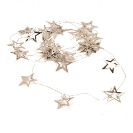 Silver Metal Star Garland. Gold or Silver. 200cm. BUY ONE GET ONE FREE