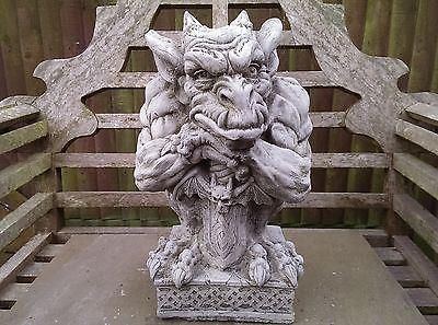 Sword Gargoyle Garden Ornament. Reconstituted stone.  Superb Details.