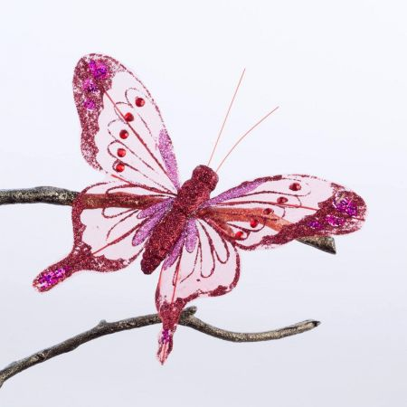 Glitter Butterfly Clip Decoration x 4.  18cm