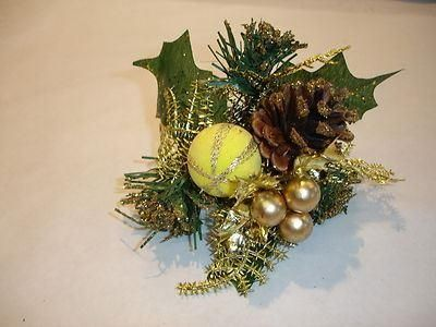 Superior quality gold Christmas picks x 3 with cone bauble berries & foliage