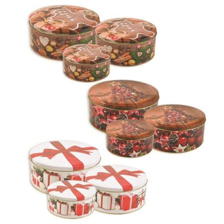 Nest of 3 Christmas Tins with Christmas Tree Design. 14-18cm