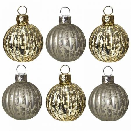 Set of 6 Vintage Effect Gold and Silver Glass Bauble Namecard Holders