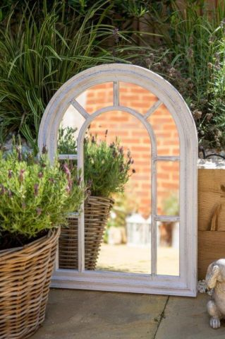 Florence Garden Mirror with Vintage white painted finish. 51 x 71cm