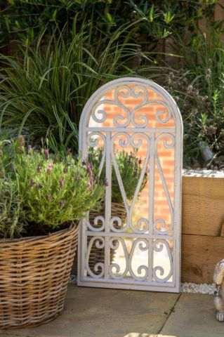 Vicenza Garden Mirror with Vintage white painted finish. 35 x 71cm