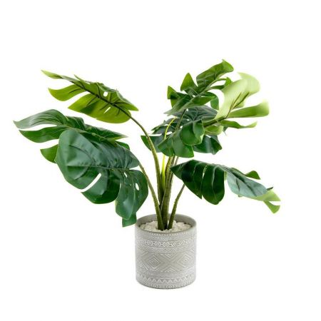 Swiss Cheese Plant Artificial Plant in a Grey Aztec Pot