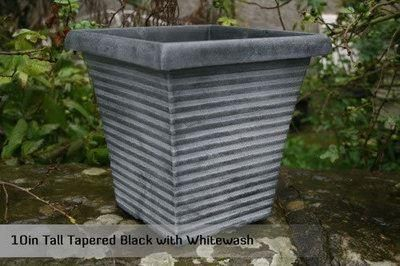 Square tapered planter patio pot 33.5cm diameter.  Plastic but looks like stone.