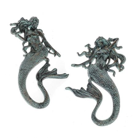 Cast Iron Mermaids (2) Garden Wall Art with Verdigris Finish 45cm tall