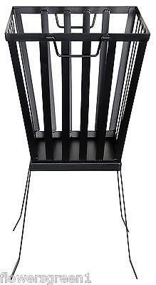 Tall Square Metal Fire Basket on legs. With or without base plate.[Firebasket with baseplate]