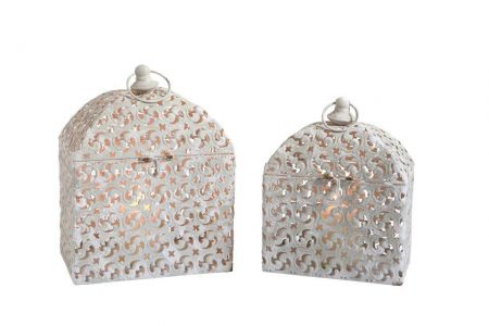 Beautiful Rectangular Marrakesh Lanterns. Set of 2. Shabby chic style
