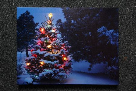 Christmas Tree Scene Printed Canvas Lit with Fibre Optics.  Battery Operated.