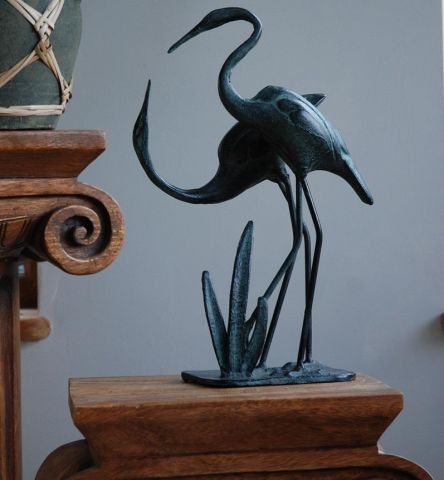 Love Cranes Statues With an aged Verde Finish Set of 2