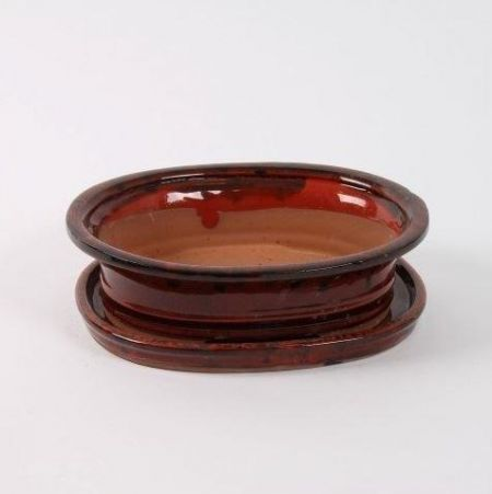 Oval Bonsai Dish and Saucer 25cm wide.   Deep Red