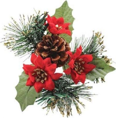 Superior quality Red Poinsettia with Picecone Christmas picks x 5