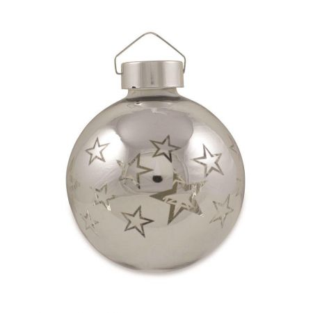Light Up Glass Baubles x 3 with Star Decor Illumination & Remote Control
