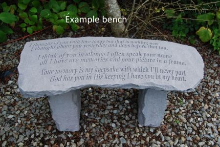 Stone Memorial Bench with Inscription Perhaps the stars...
