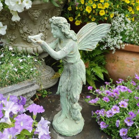 Bird Fairy Cast Iron Garden Ornament with an Aged  Verdigris Finish