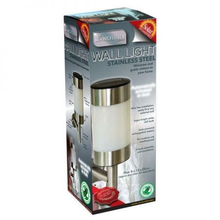 Contemporary Solar Powered Stainless Steel Wall Light x 2. Bright white LED bulb. S