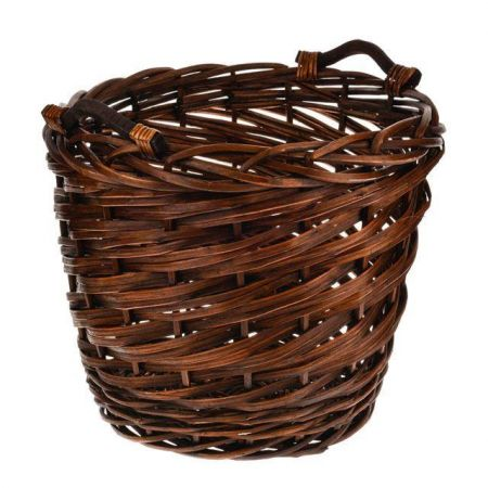 Chunky Wicker Log Basket.  Round with Wood Handles