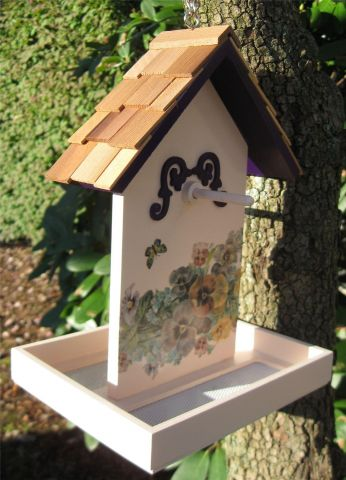 Wild Bird Feeder with a lovely Butterfly and Flower Printed Design