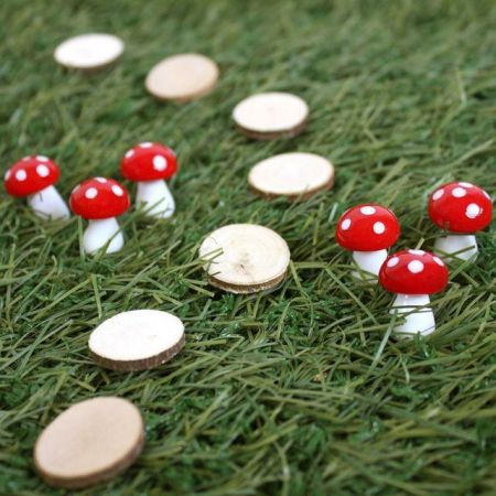 Pack of 12 Glass Mushroom for Miniature Gardening.  Small Size