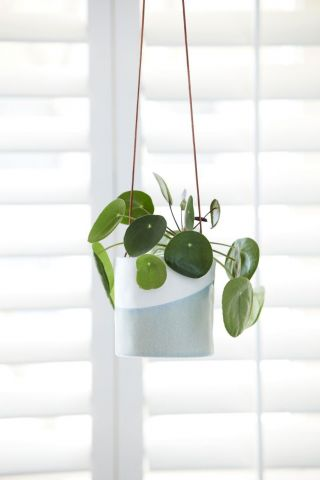 Ceramic Hanging Pot with Dip Glaze & Leather Cord from Burgon & Ball