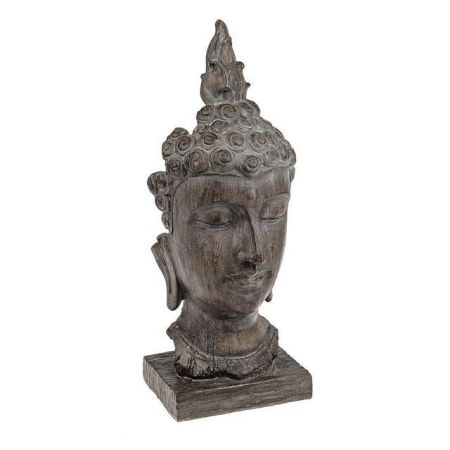 Serenity Buddha Head with Wood Effect Finish 42cm tall