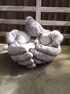 A Bird in the Hand Bird Feeder. Made from reconstituted stone. Superb Details.