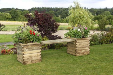 Wooden Garden Isabel Planter Benches (Pack of 2)