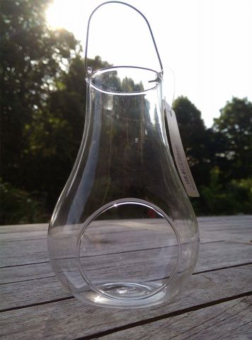 Clear Glass Hurricane Tealight Holder with Hanging Handle. x 2