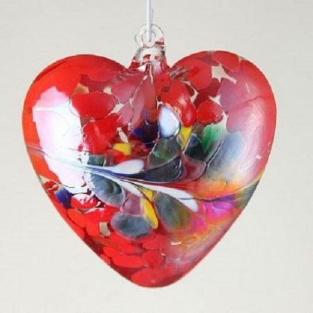 Artisan Glass Heart - Handmade / Blown.  Valentines or Friendship Gift RED