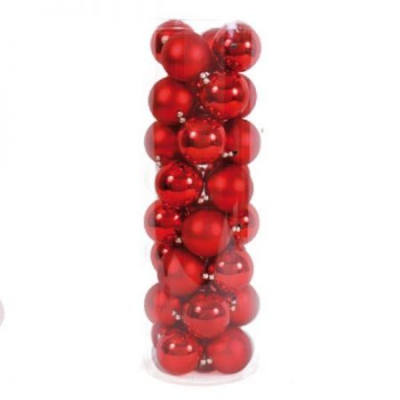 Red Christmas Bauble Garland with 32 x 6cm Baubles. 240cm long.