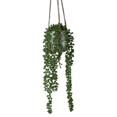 Trailing String of Pearls Artificial Plant in a Stone Pot