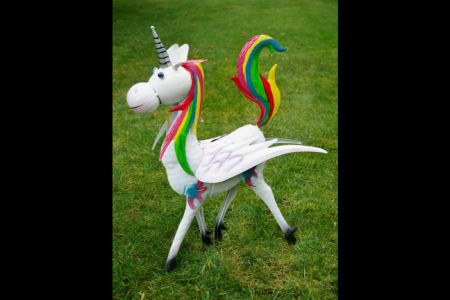 Rainbow Unicorn Garden Statue made from Painted Metal