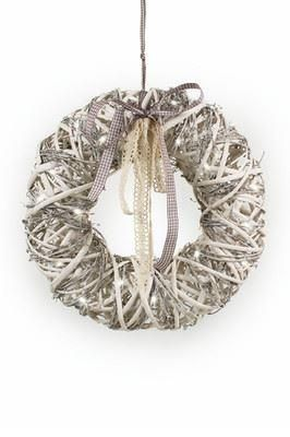 White vine and willow wreath with battery LED lights. 2 sizes. Shabby chic[38cm]